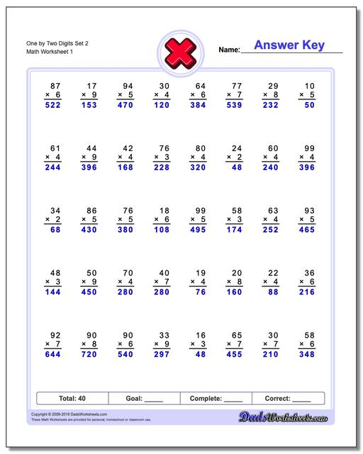 one and two digit multiplication worksheets pdf