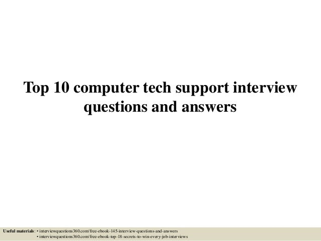 computer technical assistant interview questions and answers pdf